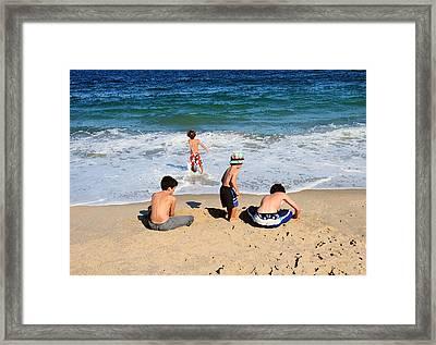 Framed Print featuring the photograph 4 Boys  by JoAnn Lense