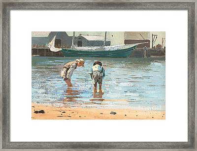 Boys Wading Framed Print by Winslow Homer