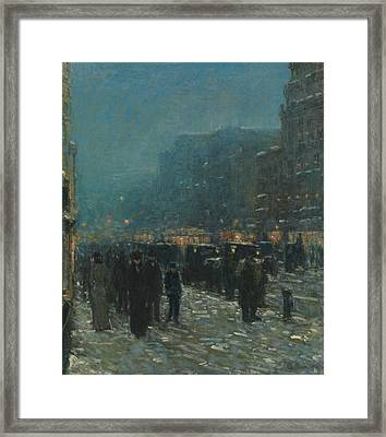 Broadway And 42nd Street Framed Print by Childe Hassam