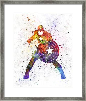 Captain America In Watercolor Framed Print