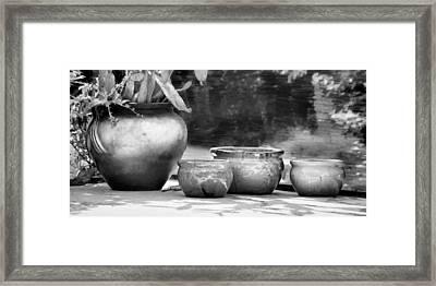 4 Ceramic Pots In Black And White Framed Print by Greg Jackson