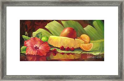 4 Cherries Framed Print by Laurie Hein