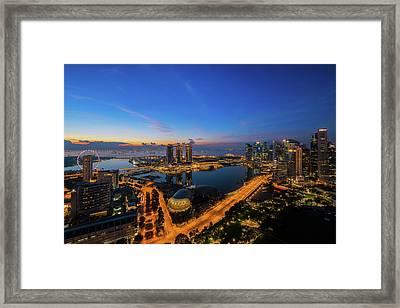 cityscape of Singapore city  Framed Print