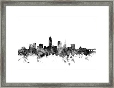 Cleveland Ohio Skyline Framed Print by Michael Tompsett