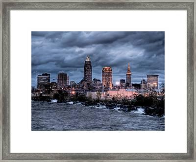 Cleveland Skyline At Dusk From Edgewater Park Framed Print