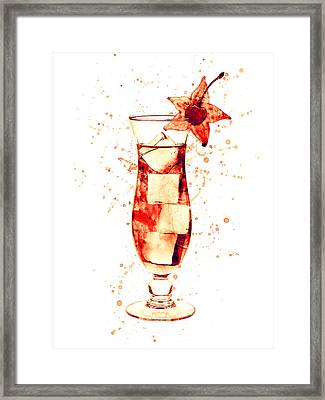 Cocktail Drinks Glass Watercolor Framed Print