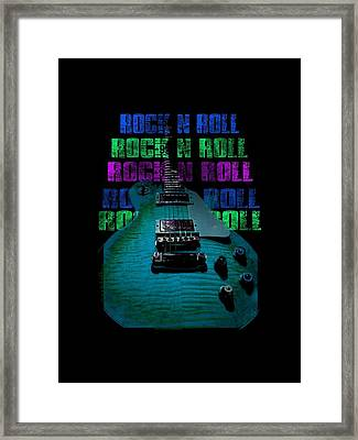 Framed Print featuring the photograph Colorful Music Rock N Roll Guitar Retro Distressed  by Guitar Wacky