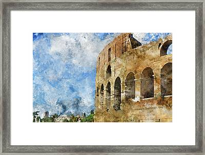 Colosseum In Rome, Italy  Framed Print by Brandon Bourdages