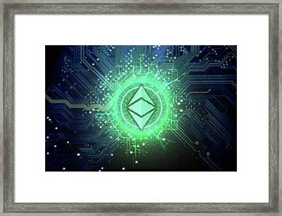 Cryptocurrency Hologram And Circuit Board Framed Print
