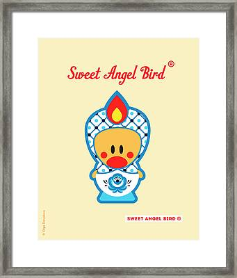 Cute Art - Blue And White Flower Folk Art Sweet Angel Bird In A Nesting Doll Costume Wall Art Print Framed Print