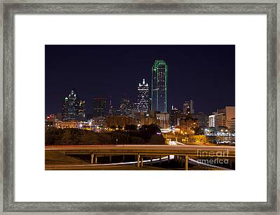 Dallas Texas Night Framed Print by Anthony Totah
