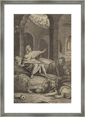 Daniel In The Lions' Den Framed Print by English School