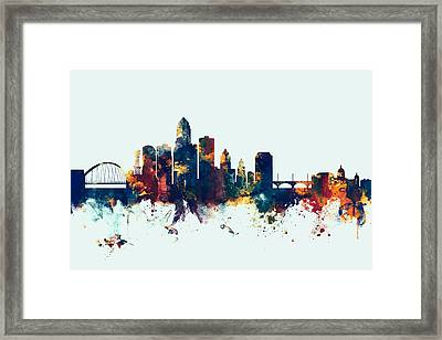 Des Moines Iowa Skyline Framed Print by Michael Tompsett