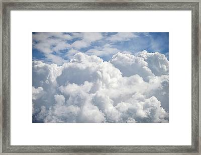 Dramatic Cumulus Clouds With High Level Cirrocumulus Clouds For  Framed Print