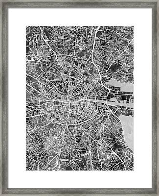Dublin Ireland City Map Framed Print