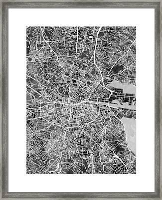Dublin Ireland City Map Framed Print