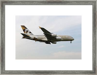 Etihad Airbus A380 Framed Print