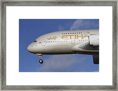 Etihad Airlines Airbus A380 Framed Print