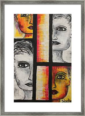 Framed Print featuring the painting 4 Faces by Sladjana Lazarevic