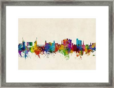 Framed Print featuring the digital art Fayetteville Arkansas Skyline by Michael Tompsett