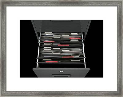 Filing Cabinet Drawer Open Confidential Framed Print by Allan Swart