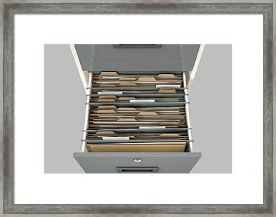 Filing Cabinet Drawer Open Tax Framed Print by Allan Swart
