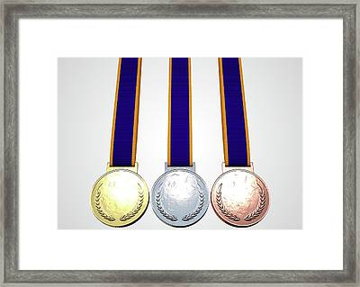 First Second And Third Medals Framed Print