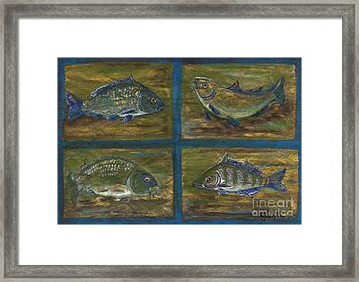 4 Fishes Framed Print by Anna Folkartanna Maciejewska-Dyba