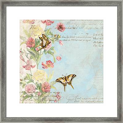 Fleurs De Pivoine - Watercolor W Butterflies In A French Vintage Wallpaper Style Framed Print
