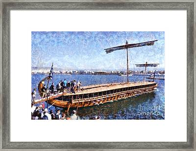 Painting Of An Ancient Trireme Framed Print