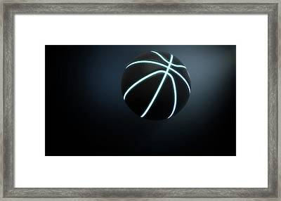 Futuristic Neon Sports Ball Framed Print by Allan Swart