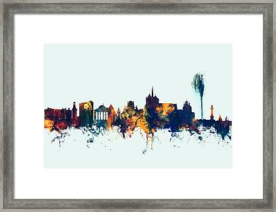Geneva Switzerland Skyline Framed Print by Michael Tompsett