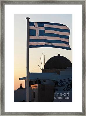 Greek Flag In Santorini Framed Print