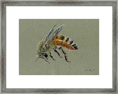 Honey Bee Watercolor Painting Framed Print
