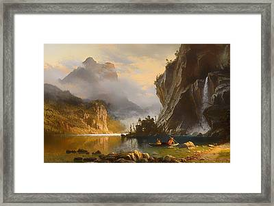 Indians Spear Fishing Framed Print by Mountain Dreams