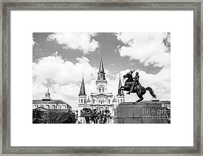 Jackson Square - Bw Framed Print