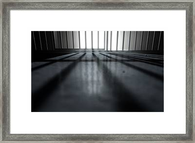 Jail Cell Shadows Framed Print by Allan Swart