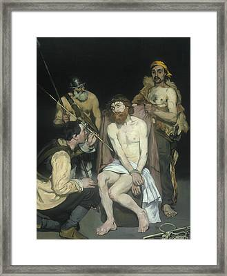 Jesus Mocked By The Soldiers Framed Print by Edouard Manet