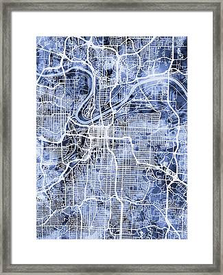 Kansas City Missouri City Map Framed Print