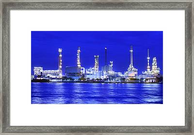 Landscape Of River And Oil Refinery Factory  Framed Print by Anek Suwannaphoom