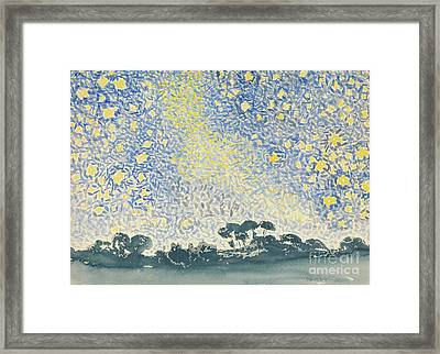 Landscape With Stars Framed Print by Henri Edmond Cross