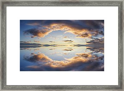 Large Vibrant Panorama Image Of Stormy Sunset Sky With Reflectio Framed Print by Matthew Gibson