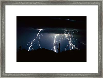 4 Lightning Bolts Fine Art Photography Print Framed Print