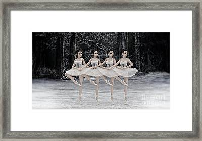 Framed Print featuring the digital art 4 Little Swans by Methune Hively