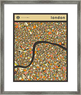 London City Map Framed Print by Jazzberry Blue