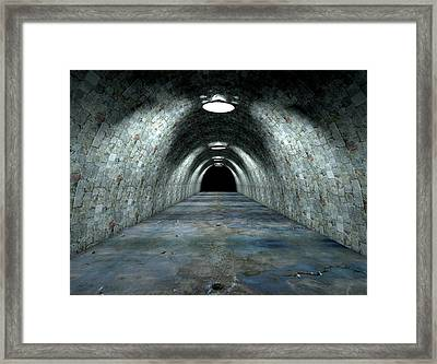 Long Tunnel Lights Framed Print by Allan Swart
