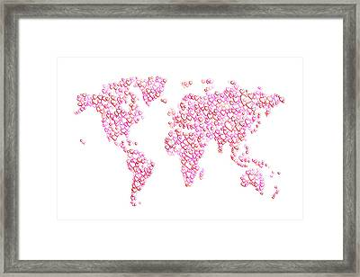 Love Hearts Map Of The World Map Framed Print by Michael Tompsett