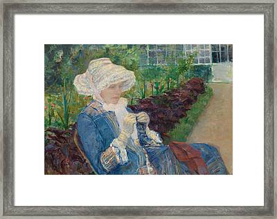 Lydia Crocheting In The Garden At Marly Framed Print