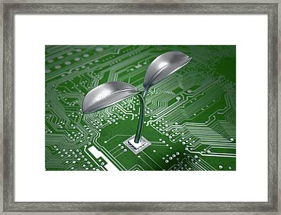 Macro Circuit Board With Futuristic Plant Framed Print