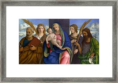 Madonna And Child With Saints Framed Print by Giovanni Bellini